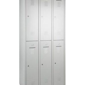 Garderobeschrank 6-Türig 180hx90bx50t grau