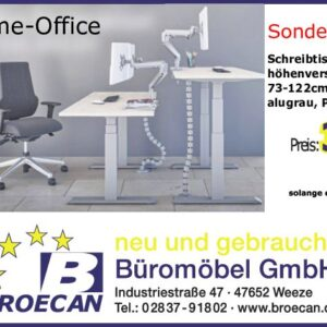 Broecan Sitz-Stehtisch Ergo R1 inkl. 120 x 80cm Platte                Eur 399,00