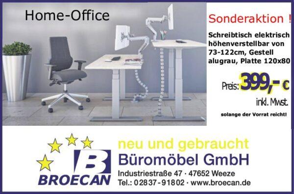 Broecan Sitz-Stehtisch Ergo R1 inkl. 120 x 80cm Platte