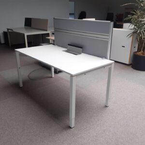 Schreibtisch 160×80 weiß HV 62-82cm inkl, Kabelkanal