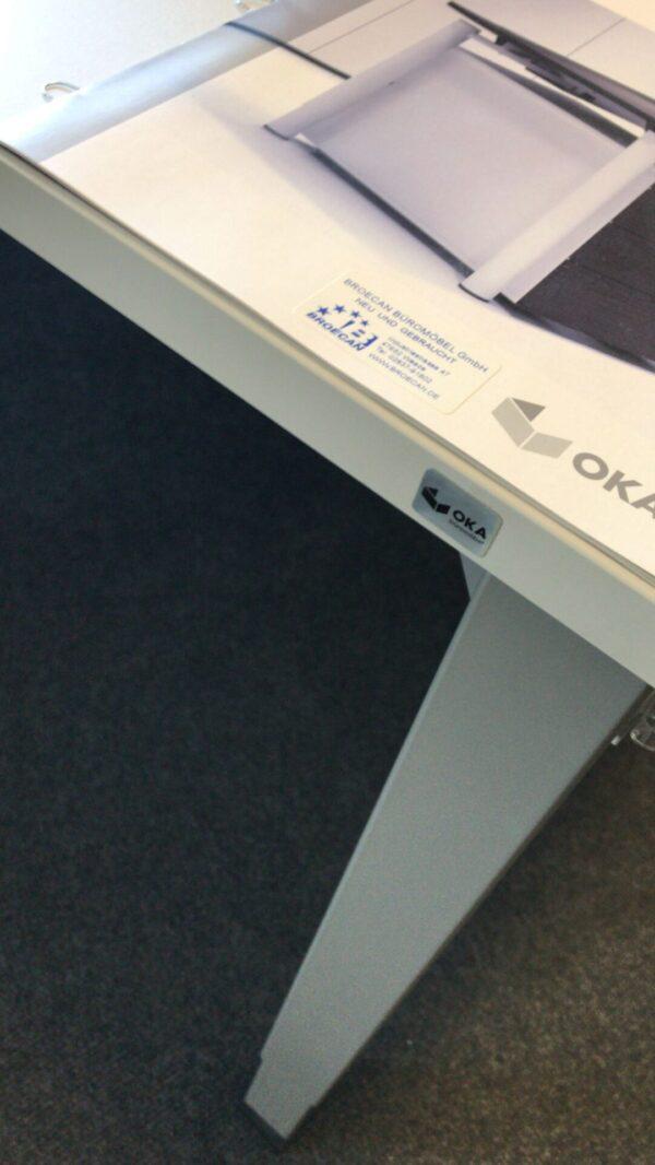 OKA Schreibtisch Q50 180 x 80 HV 68-82, Platte Weiß, Gestell alu-grau